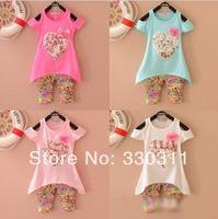 2014 summer girls  love short-sleeved cotton summer suit children suits 5 colour 4set/ lot