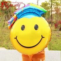 HOT! Super Smile Face Balloon 98CMX74CM Graduation Smiling Foil Balloon 20Pieces