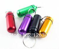 5 Pcs Lots Aluminum Pill Holder Case Container Box Bottle Waterproof Key Chain 5 Colour WaterProof Pill Cache