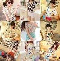 2014 NEW Sexy Loose Chiffon Shirt Printing Women tees women type T-shirts Short Sleeve Quicker Shipping Women's Printed T Shirts