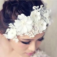 Handmade Wedding Hair Flower Crytal Pearls Bridal Hair Accessories White Flower Hair Jewelry Bride Flowers Headpiece WIGO0183