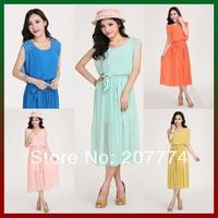 2014 New Fashion Elegant Dress Women Summer Beach Dresses Long Chiffon Maxi Boho Dress