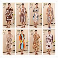 New 2015 Flannel Warm Bathrobe Men Kimono Bath Gown Leopard Print Robe Dressing Gown Nightgown Pajamas Free Shipping A0239