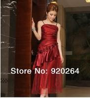 2014 New Fashion Elegant Sling Ruffles Flower Plus Size Long Woman Evening  Dress Party  Dresses Z-LS0017