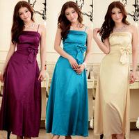 Hot Sale 2014 New  Elegant  Fashion Slim Bow-knot  Sling  Ankle-length Long Woman's Dresses/ Bridesmaids Dress Z-LS0018