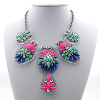 2014 European and American luxury jewelry shourouk exaggerated fashion colorful flower necklace sweater chain free shipping