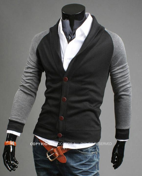 Free shipping 2014 new fashion men 's coat sweater knit cardigan jacket coat, recreational Long sleeve sweater MF0123(China (Mainland))