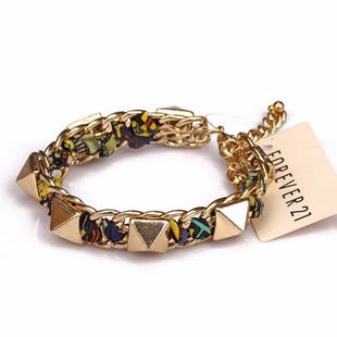 mulheres jóia moda colorida chiffon metal rebite gold pulseira estilo mashup(China (Mainland))