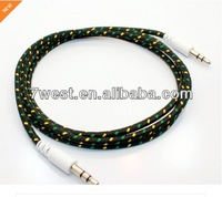 cotton braided bungee auxiliary aux audio cable for iphone ios7