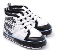 Free shipping black white Graffiti baby boy high shoes baby fashion toddler y12457