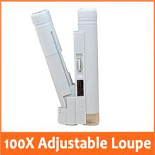 100x ajustables microscopio de bolsillo con fuente de luz LED iluminado lectura Manifier la joyería rango de medición 0 – 2 cm