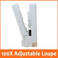 100x Adjustable Pocket MIcroscope with LED Light Source Illuminated Reading Manifier Jewelry loupe Measurement Range 0-2cm