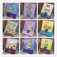 Free shipping,MOQ:1PCS Newest Despicable Me Minion Cartoon case For iPad Air Leather Flip Pouch Stand Case Cover for ipad 5