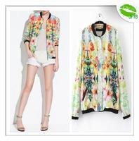 [JFYB] Za 2014 New Spring Autumn Flower Printed Aviator Jacket Women Female Casual Coats Brand Fashion Floral Bomber Jacket 205