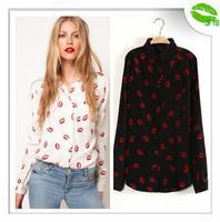 [JFYB] New 2014 Printed Red Lips Women Blouses Ladies Chiffon Shirts Brand White Tops Spring Summer Blouses White Black Shirt