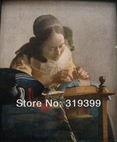 100% handmade Linen Canvas Oil Painting Reproduction,the-lacemaker by Johannes Vermeer,Free FAST Shipping