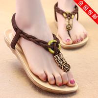 2014 bohemia flower all-match flip-flop sandals flat heel flat sandals female