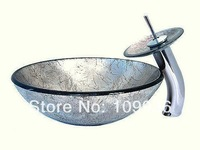 hand-painting color  Tempered glass basin, wash basin ,bathroom basin with faucet 4002