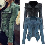Korean VINTAGE Cropped Rivet Studded Women Denim Jacket, Shrug Shoulder Pads Star Jeans Punk Spike Dovetail Coat Plus Size S-XXL