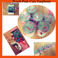 Cheapest student earphone Cartoon Cherry Pink Mobile Phone Computer Earbuds MP3 MP4 player earphone with retail package