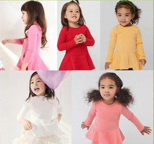 New 2014 Fashion Korean Style Solid Flocking Baby Princess Girl Dress Long Sleeve Winter Children Dresses Clothes(China (Mainland))