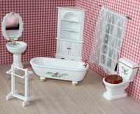 Bjd doll house mini furniture model rustic flower bathroom set 21019