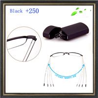 +250 power Fold reading glasses ultra-light glasses folding reading glasses free shipping reading glasses Black reading glasses