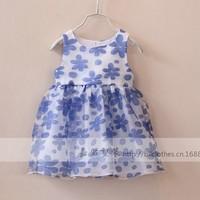 New arrival wholesale 5pcs/lot fashion summer baby dress kids girl flowers ball evening dress princess tied bowtie yarn dress