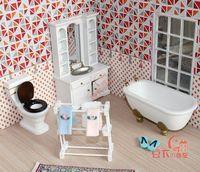 Doll house mini furniture model white brief four piece bathroom set elegant 21004