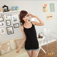 TOT ! ( Y neck )  Free Shipping Summer hot-selling woven cotton rib knitting women's crop tank Tops long design 1