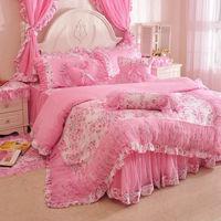 korean 100% cotton 4pcs bedding set king size duvet cover rustic princess bed set comforter queen/full/twin size bedspread