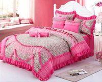 korean Rustic princess lace 100% cotton 4pcs sets princess bed skirt luxury bedding set queen/king leopard print duvet cover