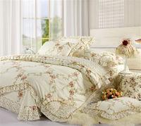 korean Rustic princess bedding bed skirt laciness 100% cotton four piece set romantic comforter sets queen/full size double bed