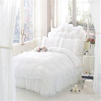 luxury home textile satin 100% cotton comforter bedding sets white lace korean princess bedding queen size bed skirt 4pcs set