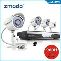 Zmodo 4ch 960h cctv video surveillance camera security system 4pc 700tvl outdoor camera kit hdmi 1080p output+Free Shipping