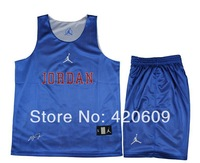 2014 Men Sport Tee Shirt Brand Breathable Cotton T Shirts Youth Basketball Jersey Reversible Training Clothes Set Free Ship