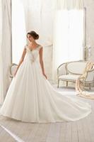 V Neck Chapel Train A Line Wedding Dress