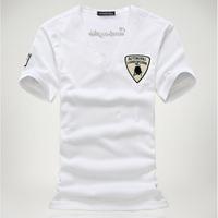 Fashion 2014 Korean Men V-Neck T-shirts Short Sleeve Shorts Men's Clothing New Causal Men T-shirt Bull Embroidered MCTT0702