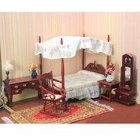 free shipping- Doll house dollhouse model fashion mahogany bed  1:12