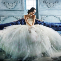Best selling bridal lace wedding dress flower lace ball gown customized for pregnant women plus size wedding dress