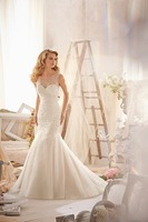 Jewel Chapel Train Organza Trumpet Mermaid Wedding Dress