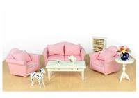 FREE SHIPPING-1:12 Dollhouse doll house pink plaid sofa model