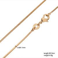 "Long 60cm girls snake gold chain for women 24"" 1mm 18K yellow gold filledlong chain pendant necklace"