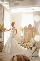 V Neck Chapel Train Trumpet Mermaid Wedding Dress