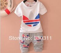 2014 hot new summer cotton children suits wholesale boys and girls sports suit 4 colour 4set/ lot