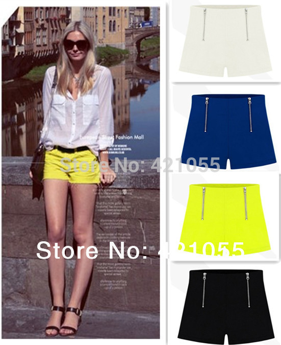Hot sale 2014 summer  women fashion shorts casual shorts two zippers hot pants  solid color  4 colors plus size  s-xxl 0.7