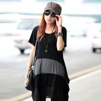 Summer women's 2014 short-sleeve loose plus size patchwork personalized medium-long t-shirt x14290