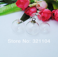 Free Ship! Exclusive20*5mm glass globe & 8mm cuprum cap connector findings set glass bubble DIY vial pendant NEW