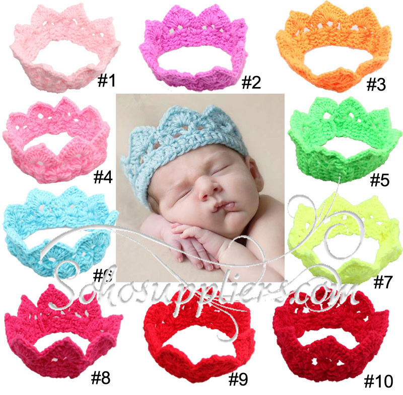 Retail Girl Baby Crochet Headbands Baby Crown Hair Bows Infant Toddlet Tiaras Headband Photo Prop 2pc Free Shipping TS-14040(China (Mainland))
