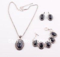 NEW Arrival Black Natural Stone Jewelry Set Necklace Bracelet Earrings Set for Women Free Shipping ZST35